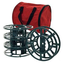 Christmas Light Reel Storage w/ Bag & 4 Reels Holds 2-100 Mini Lights Or cords