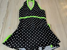 Girl youth Ice skating dress suit costume Images Ice polka dot black green