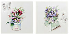 Shabby Chic Vintage Style - Flowers and Butterfly Pair Canvas Pictures