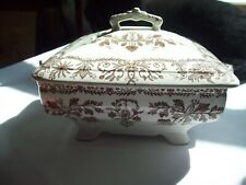 "HTF T & R BOOTE  Brown BURSLEY ENGLAND Footed LIDDED DISH ""LAHORE""  1880's"