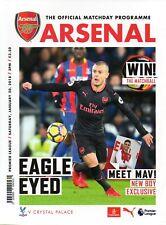 Arsenal v Crystal Palace 20/1/2018 programme + poster + teamsheet