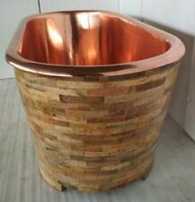 "Copper Bathtub ""Rosebud"" Mango Wood Hand Made"