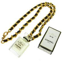 Authentic CHANEL Vintage CC Logos Gold Chain Perfume Pendant Necklace JT06169c