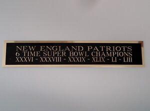 New England Patriots 6X Super Bowl Nameplate For A Football Helmet Case 1.5 X 6