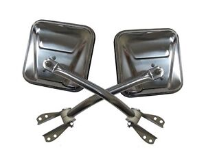 Rampage for 1955-1983 Jeep CJ5 Side Mirrors - Stainless - for ram7417