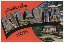 Greetings from Atlanta Georgia, Statue, Capitol, Large Letter -- Modern Postcard