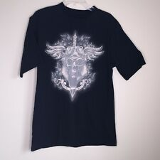 AVIREX Mens Sz M Black Graphic T-Shirt Silver Studded Winged Skull Tattoo