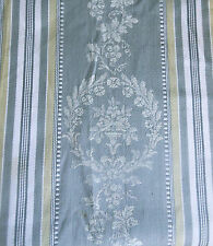 Antique French Floral Wreath Urn Cartouche Stripe Ticking Fabric ~Gray Oliv Gold