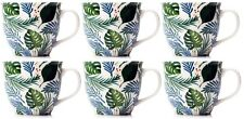Set of 6 Extra Large Oversized Bone China Mugs Coffee / Soup Mugs Floral Jungle