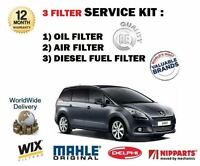 FOR PEUGEOT 5008 1.6HDi 10/2009-> NEW OIL AIR FUEL 3X FILTER SERVICE KIT