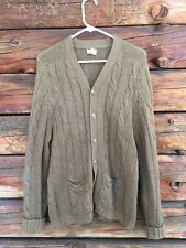 SAKS Fifth Avenue Mens 44 100% Shetland Wool Brown Cable Knit Cardigan Sweater