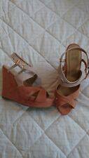 Pink Nude Suedette Chunky Wedges 7 Rose Gold Trim