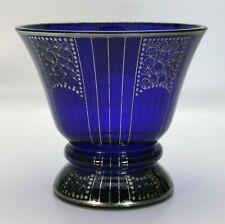 Art Deco Glasvase Glasfachschule Steinschönau, Joh. Oertel Silbermalerei -18100-