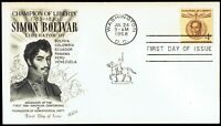 US 1110 Simon Bolivar 4c July 24 1958 Fleetwood First Day Cover F1110-1