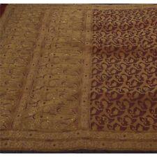 Sanskriti Antique Vintage Saree Pure Organza Silk Hand Embroidery Fabric Premium