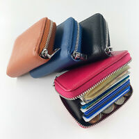 11 Slots Genuine Leather Business ID Credit Card Holder Case Pocket Bag Wallet