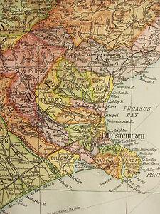 1919 LARGE MAP ~ NEW ZEALAND SOUTH ISLAND CHRISTCHURCH CHATRAM STEWART