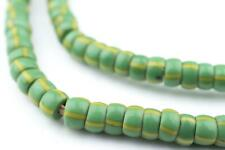 Green & Yellow Chevron Beads 7mm Ghana African Seed Glass 27 Inch Strand