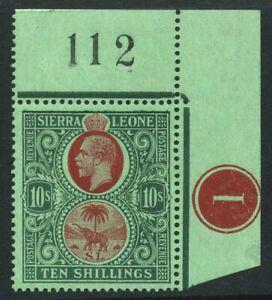 1921-7 Sierra Leone 10/- SG 146 Mint NH Cat £170