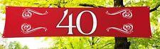 Banner 40 ROT, Polyester, ca. 40x180cm, Banner Rubinhochzeit