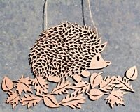 Wooden Hanging Hedgehog Decoration, Laser Cut, Picture, Plaque, Bronze Rustic