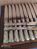 12 Couteaux de Table de Style Louis XV Décor Floral et Coquilles