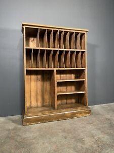 Large Edwardian Pine Factory Pigeon Hole Storage Cabinet