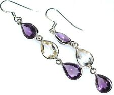 Purple Amethyst + White Quartz Crystal Earring 925 Sterling SILVER Drop Earrings