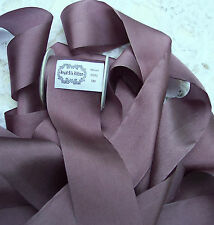 "100% PURE SILK RIBBON~SILVER/GRAPE~ COLOR  1 1/2""[36MM] WIDE 5 YD SPOOL ~SALE~"