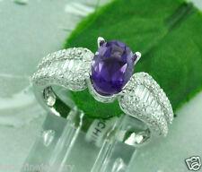 3.02 ct 18k White Gold Ladies Natural Amethyst Diamond Ring February Birthstone