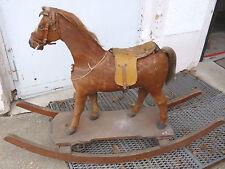 Schauckelpferd von 1890 mit orig.Pferdefell+Schweif+Sattel Höhe=88cm Länge=124cm