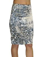 ICE  Womans Ladies Sexy Stretch Satin Pencil Skirt Animal Print Size 6