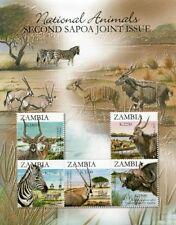 Zambia 2007 SAPOA Animals Joint Issue Minisheet UMM MNH (Buffalo, Zebra etc.)