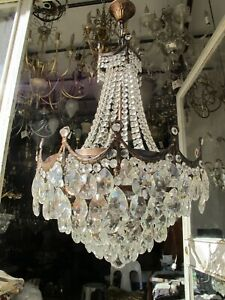 Antique Vnt French Gigantic Crystal Chandelier Lamp Light 1940's 19in Ø diamter,