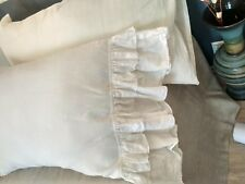 Pillow Case/with Double Ruffles/Closure Envelope/Washed/Natural Gray Brown Rose