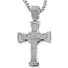with Cubic Zirconia and 30 inches Mens Women Large Steel Cross Pendant Necklace