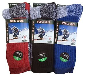 "6 Pairs Men's Merino Wool Thermal Socks ""Winter-Outdoor & HEAVY-DUTY"" USA"