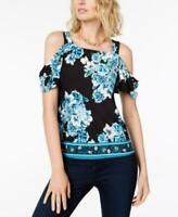INC Womens Petite Sz Black Blue Draped Cold-Shoulder Top $59.5 Sz PL TINI {&}