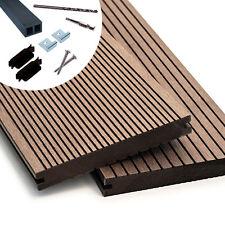 WPC Massiv Terrassendielen Komplettbausatz Komplettset in 3 Farben Holz Diele 4m