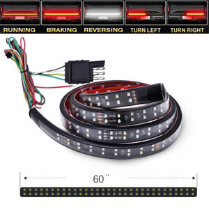 "60"" White+Red LED Tailgate Lid Light Trailer Truck Signal Stop Backup DRL Lamps"