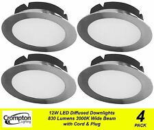 4 x 12W DIMMABLE LED Downlights Wide Beam Warm 3000K Fixed Chrome 830Lm 240V