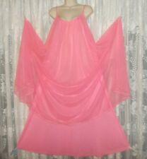 Vtg Rare Virginia Wallace Pink D Lyr Chiffon ovr Nylon Nightgown Negligee L Xl