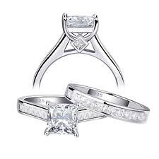 White Cz 925 Sterling Silver Sz 9 Wedding Engagement Ring Set For Women Princess