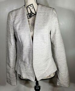 Halogen Women's Open Front V-Neck Jacket, white/ Grey Tweed, Size M