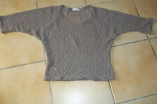PULL GRIS/MARRON - CACHE CACHE - manches 3/4 - taille 36