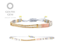 Handgefertigtes Boho Armband aus Perlen Surfer Strand Accessoires Ethno rosa