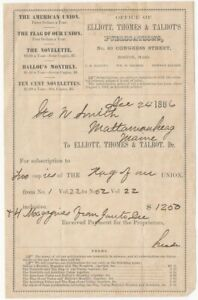 1886 Elliott, Thomes & Talbots Magazine Publishers Boston Subscription Form