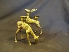 Pair Of Brass Christmas Deer Reindeer Candle Holders Holiday Christmas