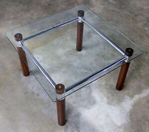 Oak Chrome Glass End Table Mid Century Modern