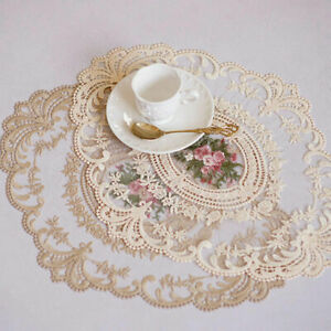 Lace Embroidered Victorian Vintage Table Placemat Wedding Doily Candle Decor